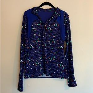 Tops - Blue geometric pattern half-zip athletic jacket